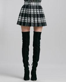 Alice   Olivia Fizer Box-Pleated Plaid Skirt