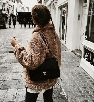jacket bear brown fall outfits fancy winter outfits teddy bear fashion fashion vibe warm warm sweater