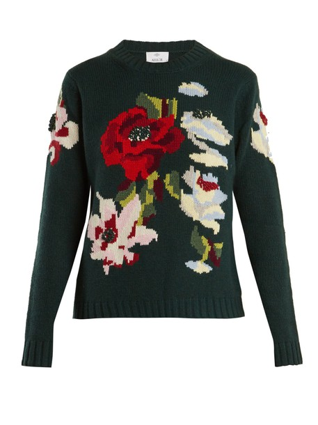 Allude sweater floral dark green