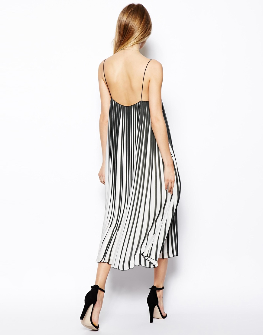 ASOS Swing Dress In Pleated Stripe at asos.com