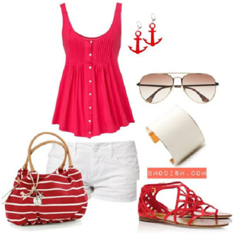 shorts white shorts bracelets red top sandals earrings red low heel sandals tank top pretty pretty outfit summer outfits outfit crop tops summer shorts beach seeling boat trip lively lovely inspiration summer summerish ancer shoes red top shirt