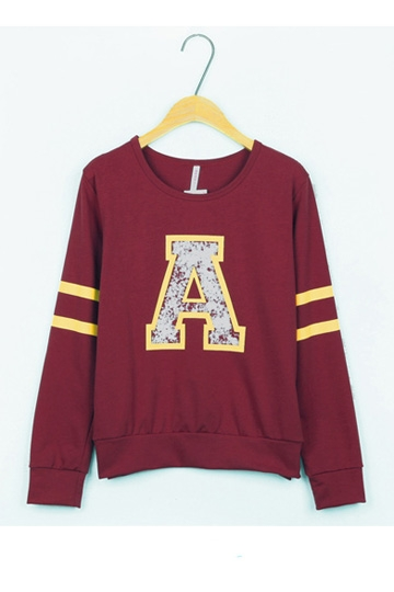 Simple Style Long-Sleeved Pullover [FOBK00113]- US$19.99 - PersunMall.com