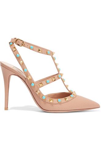 embellished pumps leather shoes