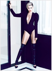shoes,miley cyrus,cut out one piece,one piece,spandex,boots,over the knee,leather,shirt,black,leotard