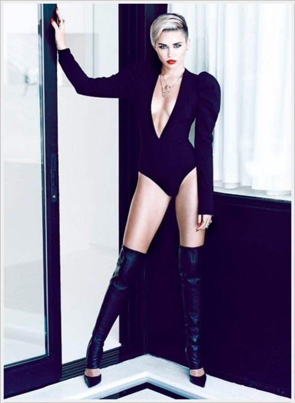 shoes miley cyrus cut out one piece one piece spandex boots over the knee leather shirt black leotard