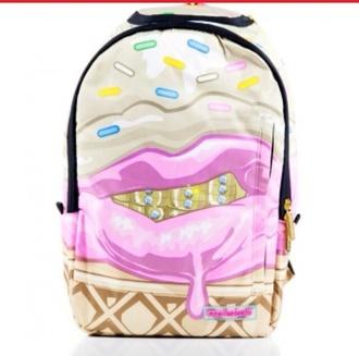 bag backpack ice cream school bag lips print hipster hippie jacket