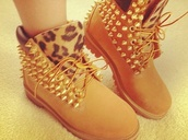 shoes,timberlands,spikes,leopard print,custom timberlands,leopard timberlands,spike,fashion,boots,flat boots,brown boots,brown,gold spikes,leopard printed boots,spiked timberlands,brown cheetah print and spike timberland boots,top,brown studded timberlands,combat boots