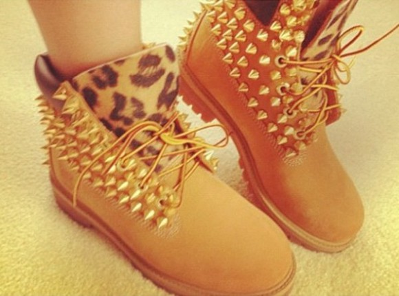 shoes timberlands spike cheetah fashion boots spikes leopard print timberlands leopard flat boots brown boots brown gold spikes leopard printed boots