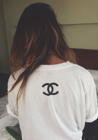 shirt chanel chanel t-shirt white t-shirt top