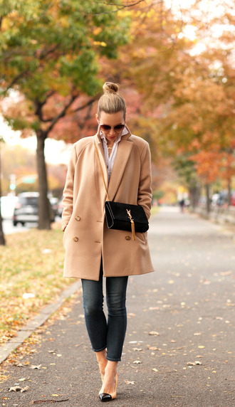 brooklyn blonde blogger jeans bag jewels sunglasses camel camel coat saint laurent