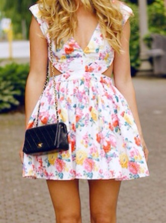 dress floral dress cut out sides