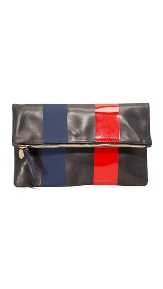 clutch navy grey red bag