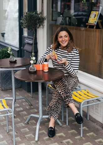 blogger top pants shoes loafers striped top animal print