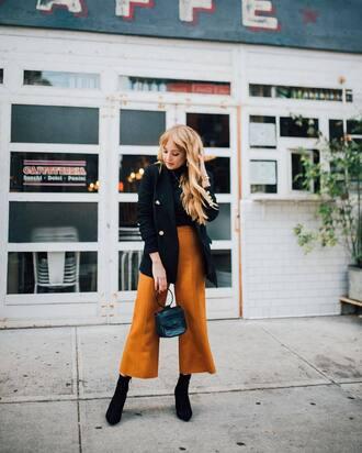 pants tumblr culottes cropped pants yellow yellow pants boots black boots jacket black jacket bag handbag