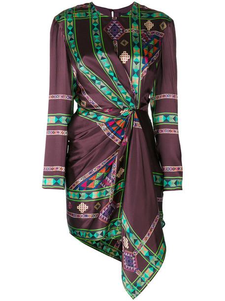 ETRO dress printed dress women silk brown
