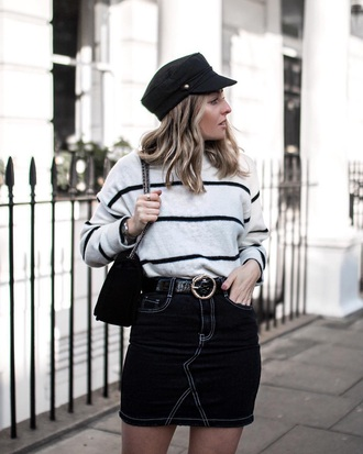 sweater striped sweater skirt mini skirt black skirt hat fisherman cap bag denim skirt stripes