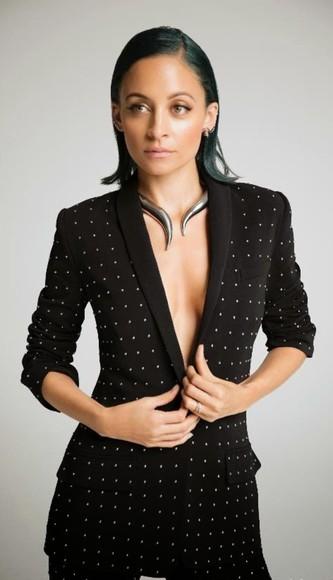 nicole richie jewels necklace pants jacket blazer polka dots
