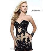 dress,black dress,lace dress,sherri hill