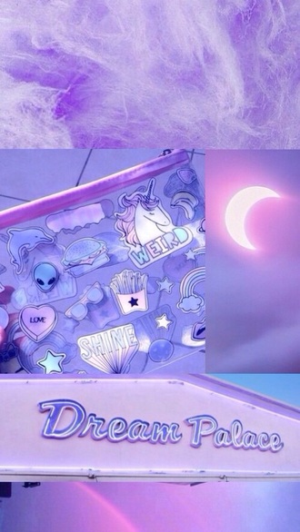 bag clutch stickes liliac unicorns alien
