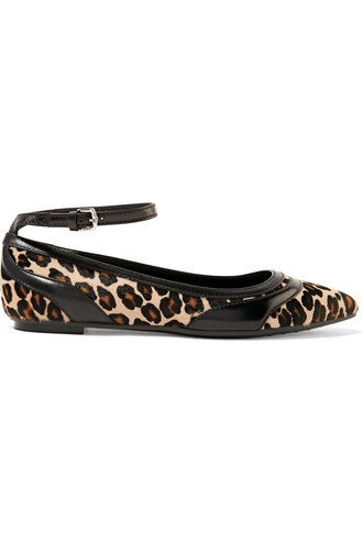 hair flats leather print leopard print shoes