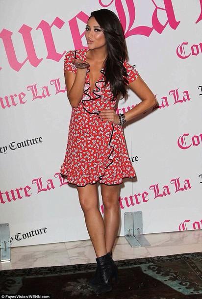 shay mitchell ruffle floral dress dress