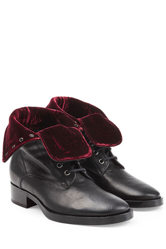 boots leather boots leather velvet black shoes
