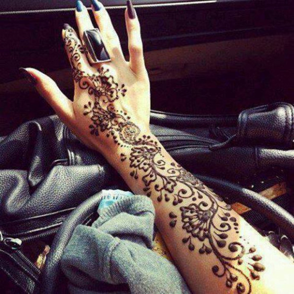 drawings nail polish painting ornamented indian jewels henna wedding flowers printed fake tattoo flawless beautiful