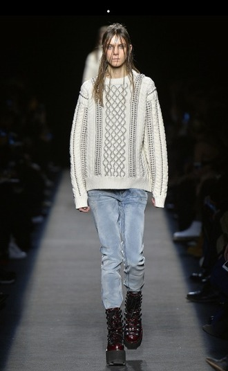 sweater knitted sweater oversized sweater jeans platform shoes grunge shoes alexander wang fashion week 2015