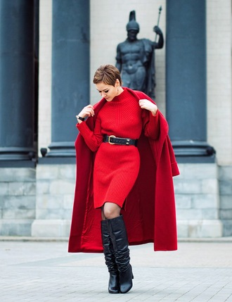 gvozdishe blogger coat dress belt shoes bag sweater dress red dress red coat boots fall outfits