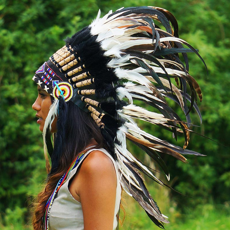 Black and White Mixed-Feathers Native American Headdress - 75cm – Indian Headdress - Novum Crafts