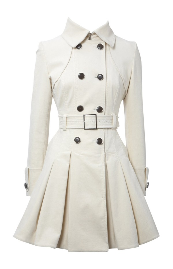 coat trench coat white cute dressy buttoned belt