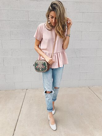 hello fashion blogger top shoes jewels make-up crossbody bag bag pink top pumps white shoes
