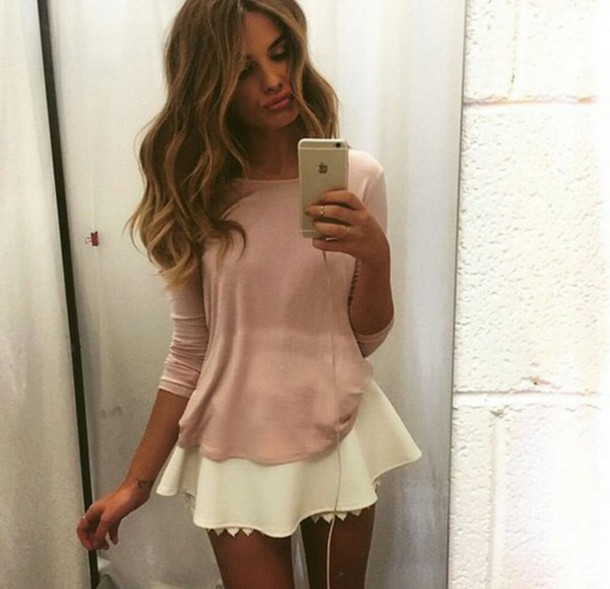 skirt white skirt white skater skirt white skirt lace clothes cute nice pink cream white top tan beautiful t-shirt beige top shirt outfit ootd light pink cute skirt short short skirt soft see through petal skirt long sleeves long sleeve shirt bag love blouse