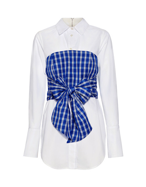 shirt white blue gingham top