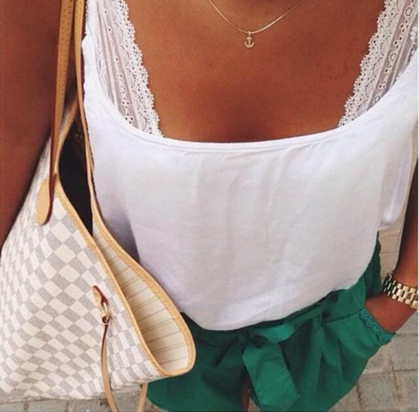 blouse green short white top shorts