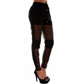 pants,black,harem pants,sheer,white,white mesh pants,mesh panel,meshpants,black pants,mesh