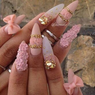 jewels pink pink nails nail polish nail accessories classy gold bows flowers love