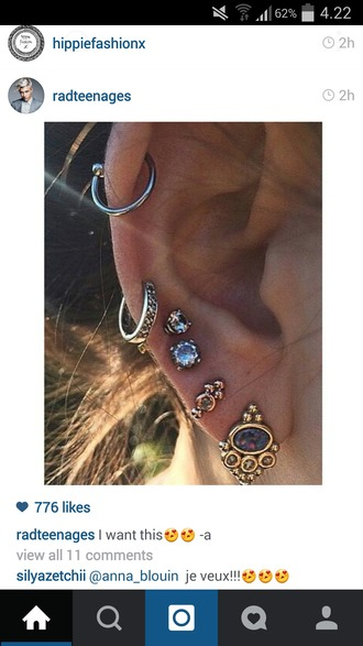 jewels earrings ear cute fashion ear piercings rings and piercings