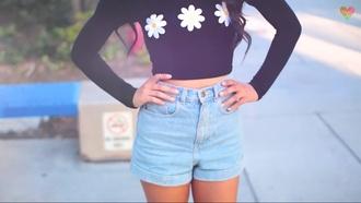 denim shorts mylifeaseva basic shorts cute shorts summer shorts daisy top shirt black flowers floral black and white