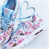 shoes,nike,floral,sneakers,blue,pink,flowers,heart,nike air max 90,summer,floral shoes,nike air max 1
