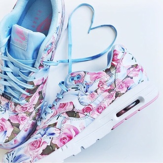 shoes nike floral sneakers blue pink