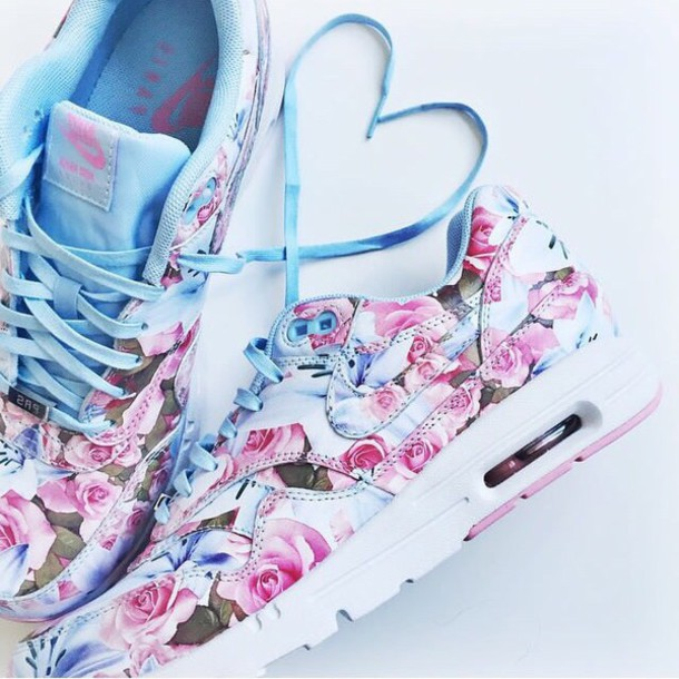shoes nike floral sneakers blue pink flowers heart nike air max 90 summer floral shoes nike air max 1