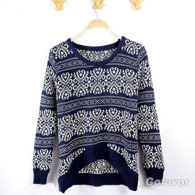 Loose Porcelain Decorative Pattern Pullover Sweater