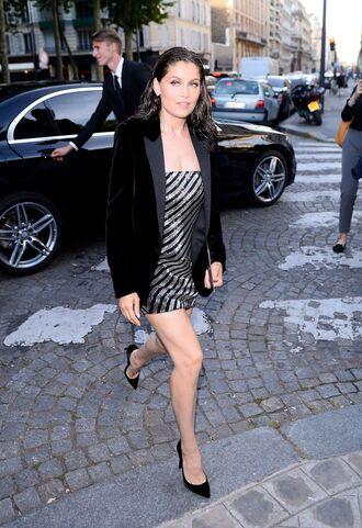 jacket french actress laetitia casta celebrity celebrity style velvet velvet blazer dress mini dress pumps high heel pumps streetstyle