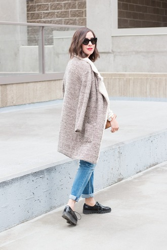 adventures in fashion blogger sweater coat jeans shoes sunglasses bag jewels