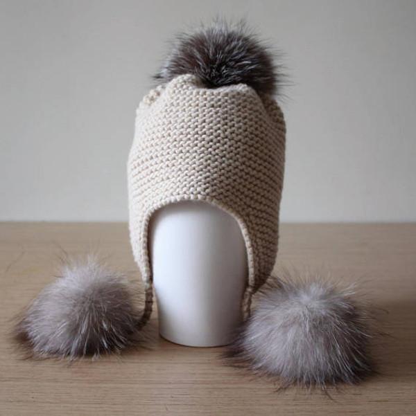 hat fur beige pom pom beanie real fur pom pom beanie chunky knit fox fur handknit hand-knit