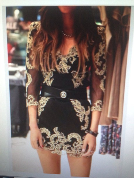 dress black and gold dress