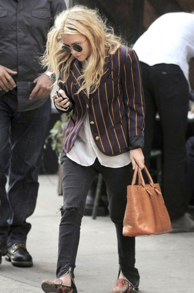 mary-kate olsen striped blazer mary kate olsen olsen bag sunglasses olsens black jeans white blouse black sunglasses brown shoes
