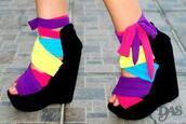 wedges,black,suede,rainbow,multicolor,cloth,shoes