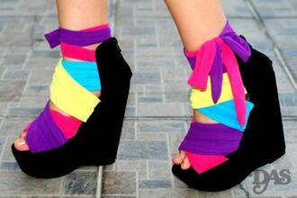 wedges black suede rainbow multicolor cloth shoes